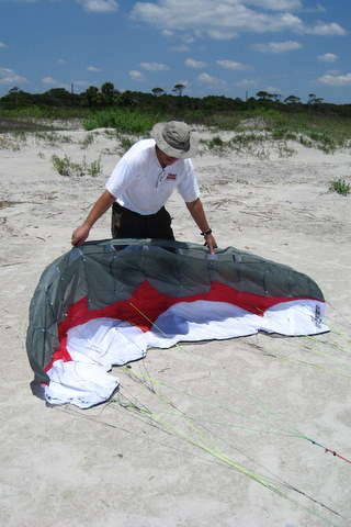 Inflating and setting kite