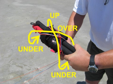 tutorial diagram of kite handle with no 2nd stopper knot on brake toggle but brake lines are secured behind leash attachment
